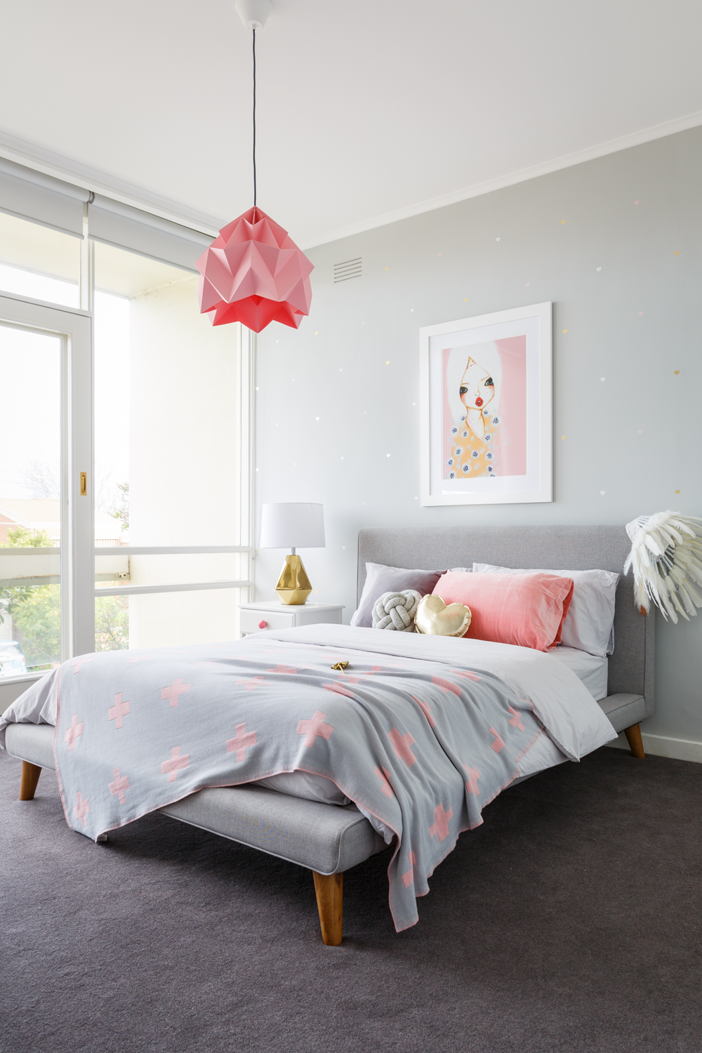 Real inspiration pink grey bedroom minty magazine - Grey and gold bedroom ...